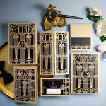 Golden Art Deco Great Gatsby Laser Cut Gatefold Menu
