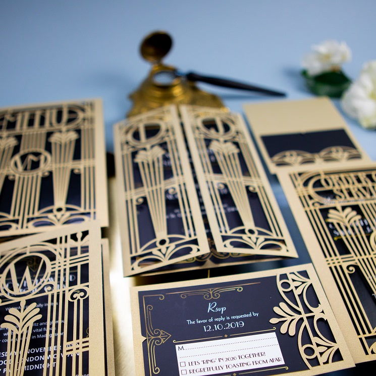 Golden Art Deco Great Gatsby Laser Cut Gatefold Wedding RSVP/Save the Date /Thank You Card
