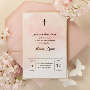 Beautiful Baptism Christening Invitation Foil Pressed Watercolour Light Pink