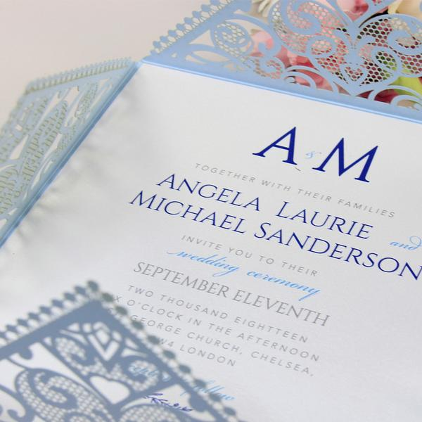 Blue Square Wedding Invitations with White Insert and Silver Glitter