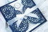 Elegant Navy Blue Wedding Invitations - Laser cut Floral Invitation with Cream Insert