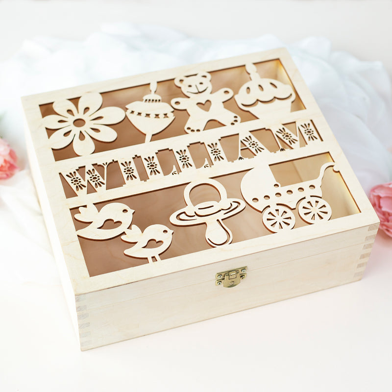 Personalized Baby Wooden Keepsake Reminder Box - Laser Cut  Memory Box Gift for a Child - Baby Shower, First Year, Birthday, Baptism