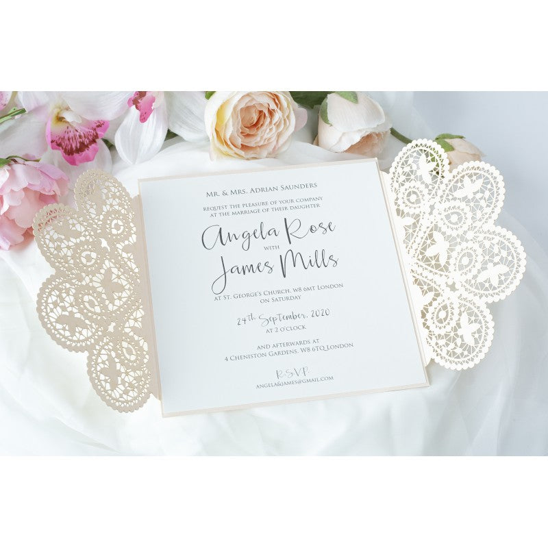 Elegant Peach Two Side Opening Wedding Invitations