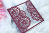 Elegant Burgundy Wedding Invitations - Laser cut Floral Invitation with Cream Insert