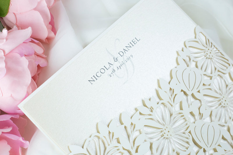 Floral Invitation Cards Square Lace Light Cream Wedding Invitations with Envelopes DIY Laser Cut Kit !