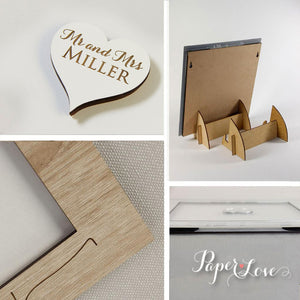 Large White Personalised Wedding Guestbook Big Laser Cut, Square Wedding Heart Guestbook
