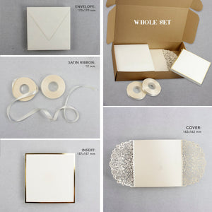 Laser Cut Gatefold Wedding Invitation with Cream Silk Ribbon