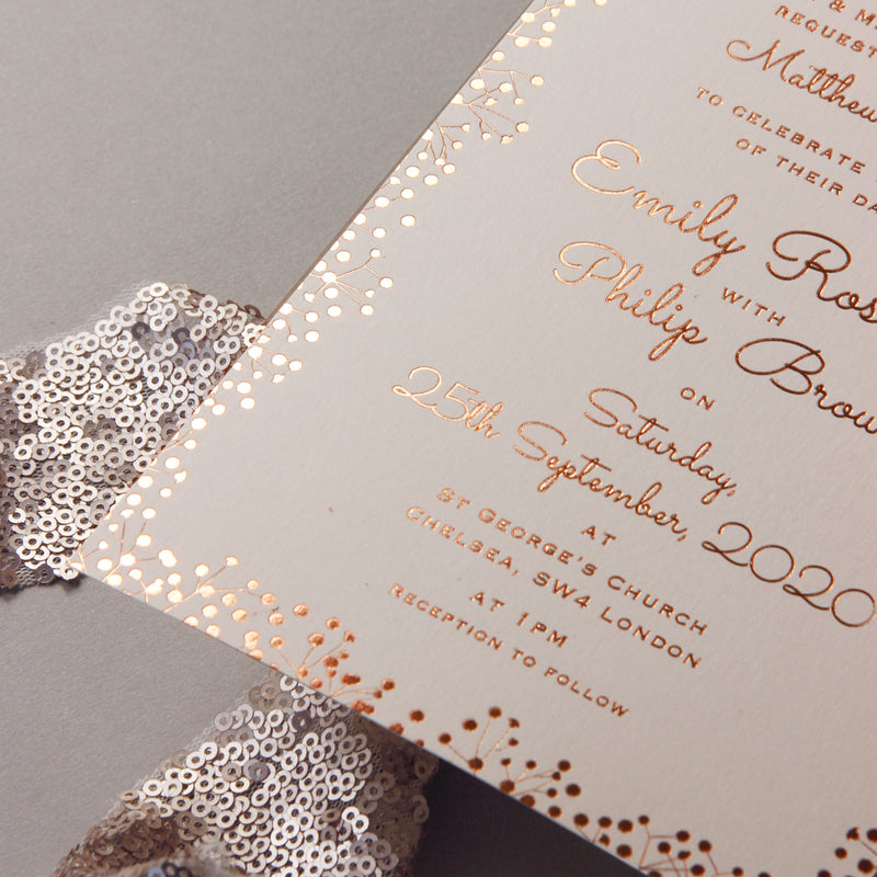 Amazing Rose Gold Foil Elegant Wedding Invitation White