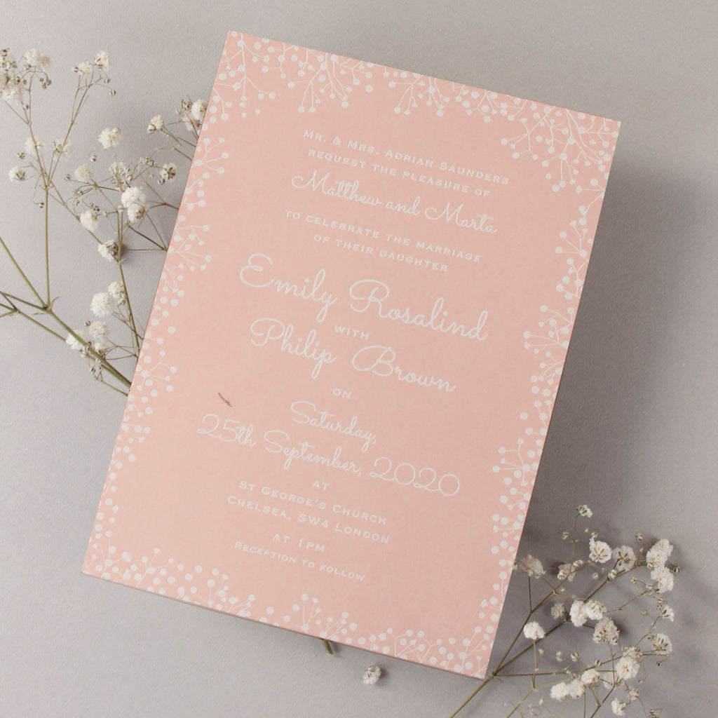 Amazing White Foil Elegant Wedding Invitation Pink Christening