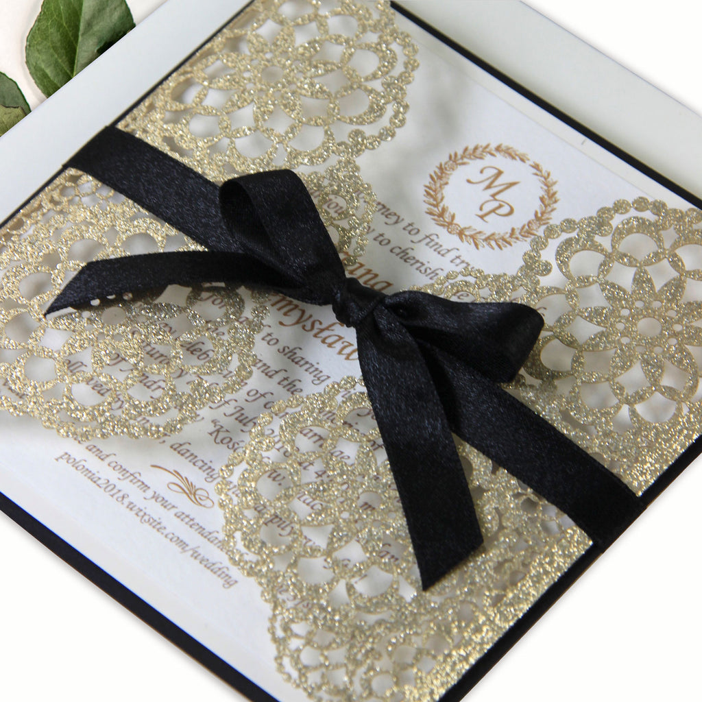Gliter Laser Cut Wedding Day Evening Invitation with Ribbon Gold Black Gatsby