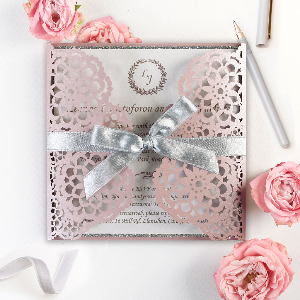 Personalised Luxury Laser Cut Wedding Invitations Day Evening Invites Glitter Pink Misty Rose