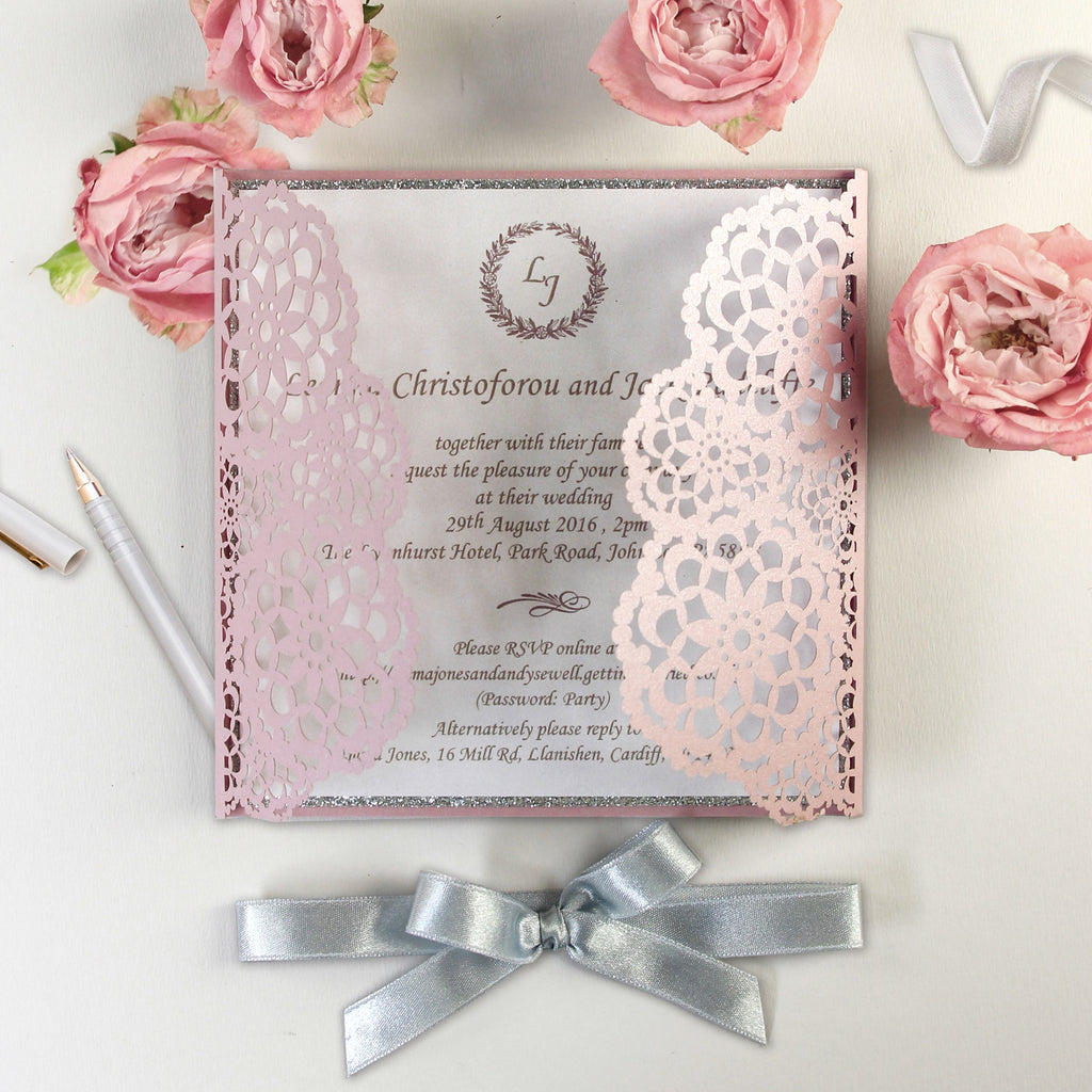 personalised luxury laser cut wedding invitations day evening
