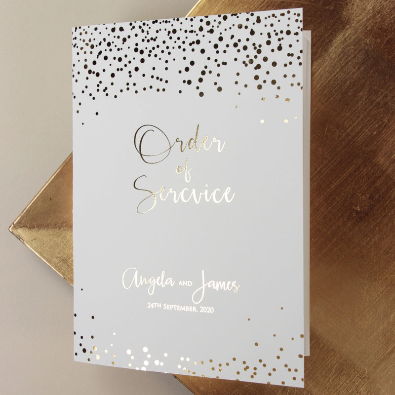 Foil Pressed Personalised Order of Service or Menu Gold
