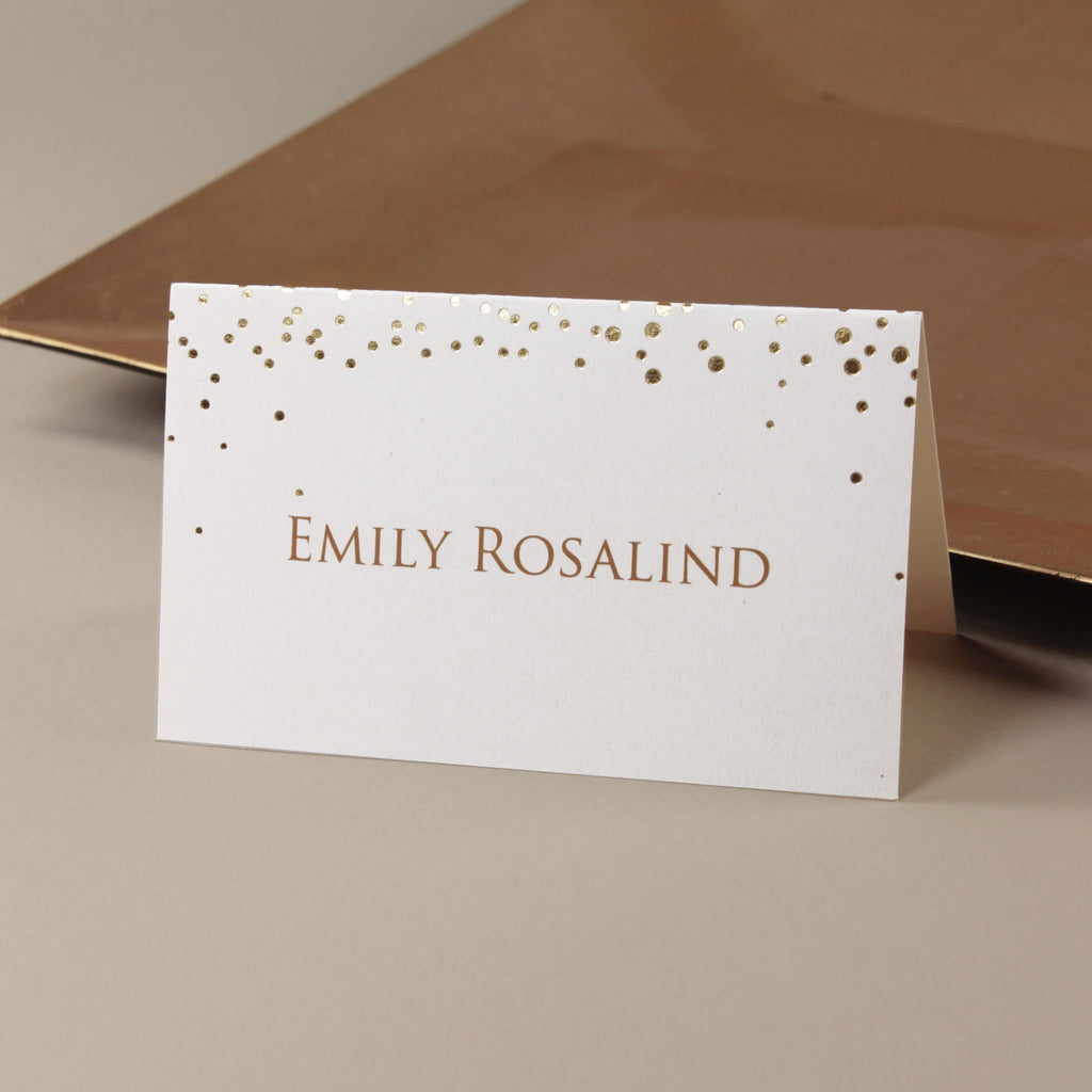 Foil Pressed Personalised Place Card  Gold/Silver/Rose Gold
