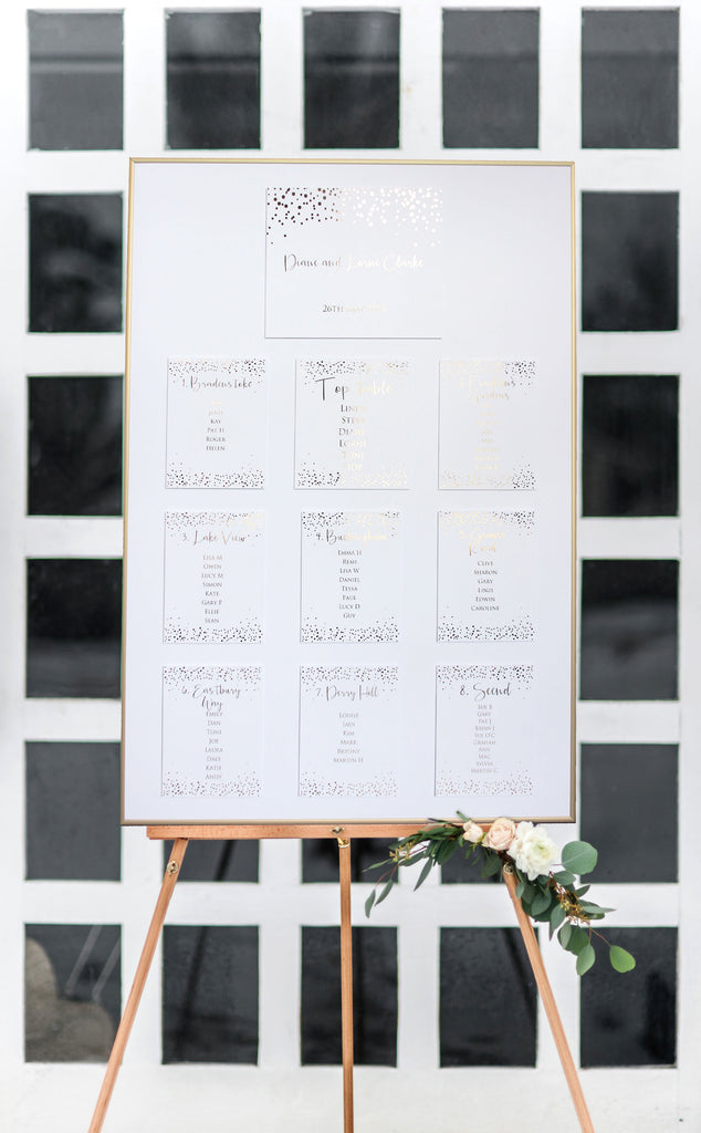 Elegant Foil Pressed Table Plan White