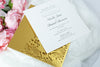 Elegant Floral Square Lace Gold Wedding Invitations with Envelopes DIY Invitation Cards Kit Laser Cut Set
