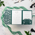 Forest Green Pocketfold Elegant Lace Floral Wedding Invitations
