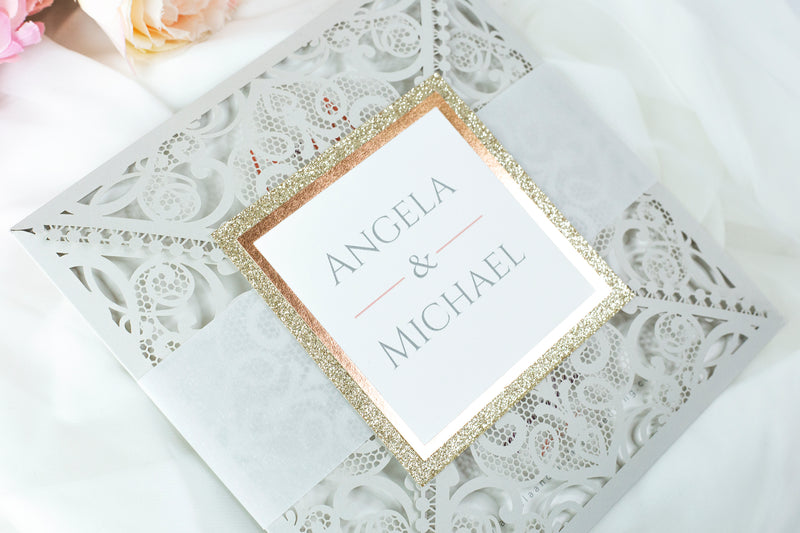 Light Grey Square Laser Cut Wedding Invitations with Cream Insert and Rose Gold Glitter