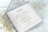 Grey Square Elegant Wedding Invitations with Peach Insert and Gold Glitter