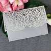 Grey Pocketfold Lace Floral Wedding Invitations