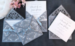 DIY Invitations Wedding Invitation Cards Laser Cut with Cream Lace + Envelope Elegant Gray Satin Ribbon Wedding Invitations Birthday