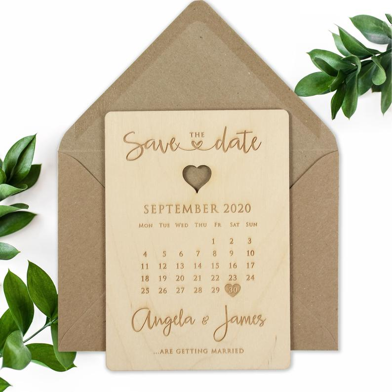 Save The Date Wooden engraved Cards, Wedding Save Cards Rustic