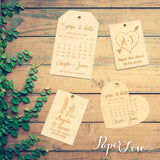 Personalised Wooden Save the Date Wedding Keyring