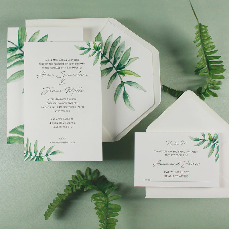 Beautiful Wedding Reply Card With White Background and Printed Watercolour Fern , RSVP