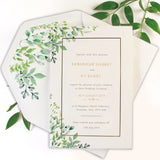 Greenery Foil Pressed Invitations Parchment Band Initials Lined Envelpes