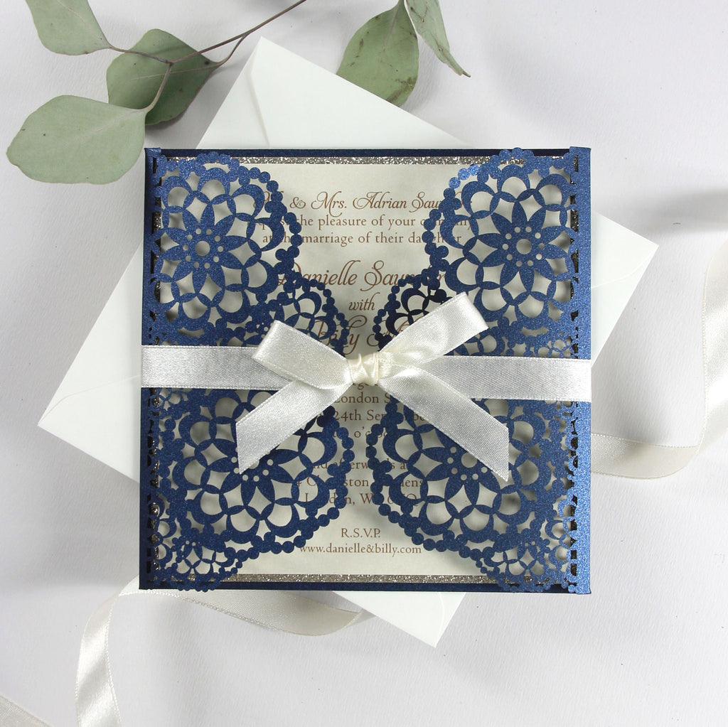 Personalised Luxury Laser Cut Wedding Invitations Day Evening Invites Glitter Navy Blue