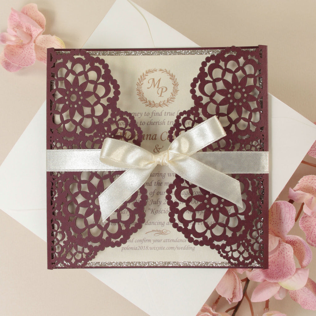 Personalised Luxury Laser Cut Wedding Invitations Day Evening Invites Glitter Burgundy