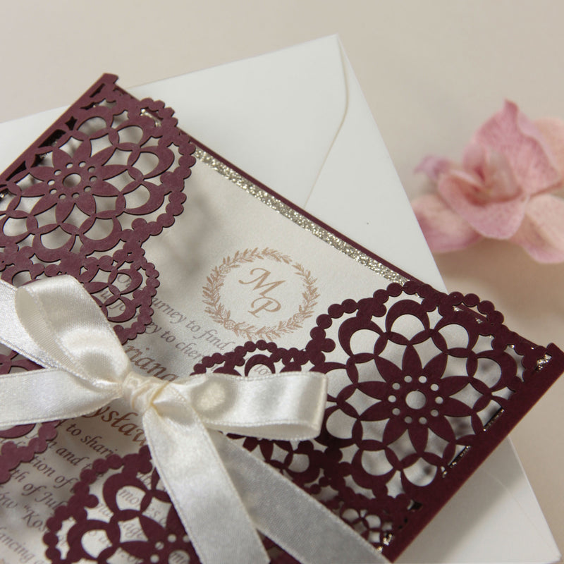 Personalised Laser Cut Ribbon Flower Party Wedding Invitation Day Evening Invite