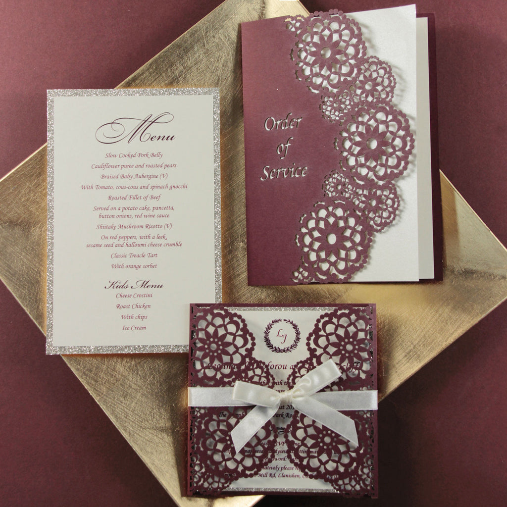 Personalised Luxury Laser Cut Wedding Invitations Day Evening Invites Glitter