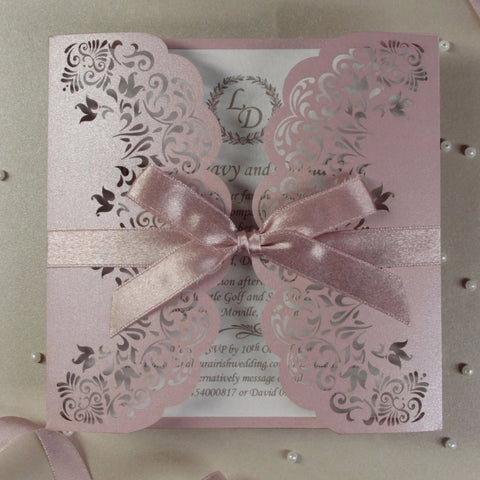 Black Laser Cut Embossed Pocket Silver Foil Wedding Invitation Glitter Liner