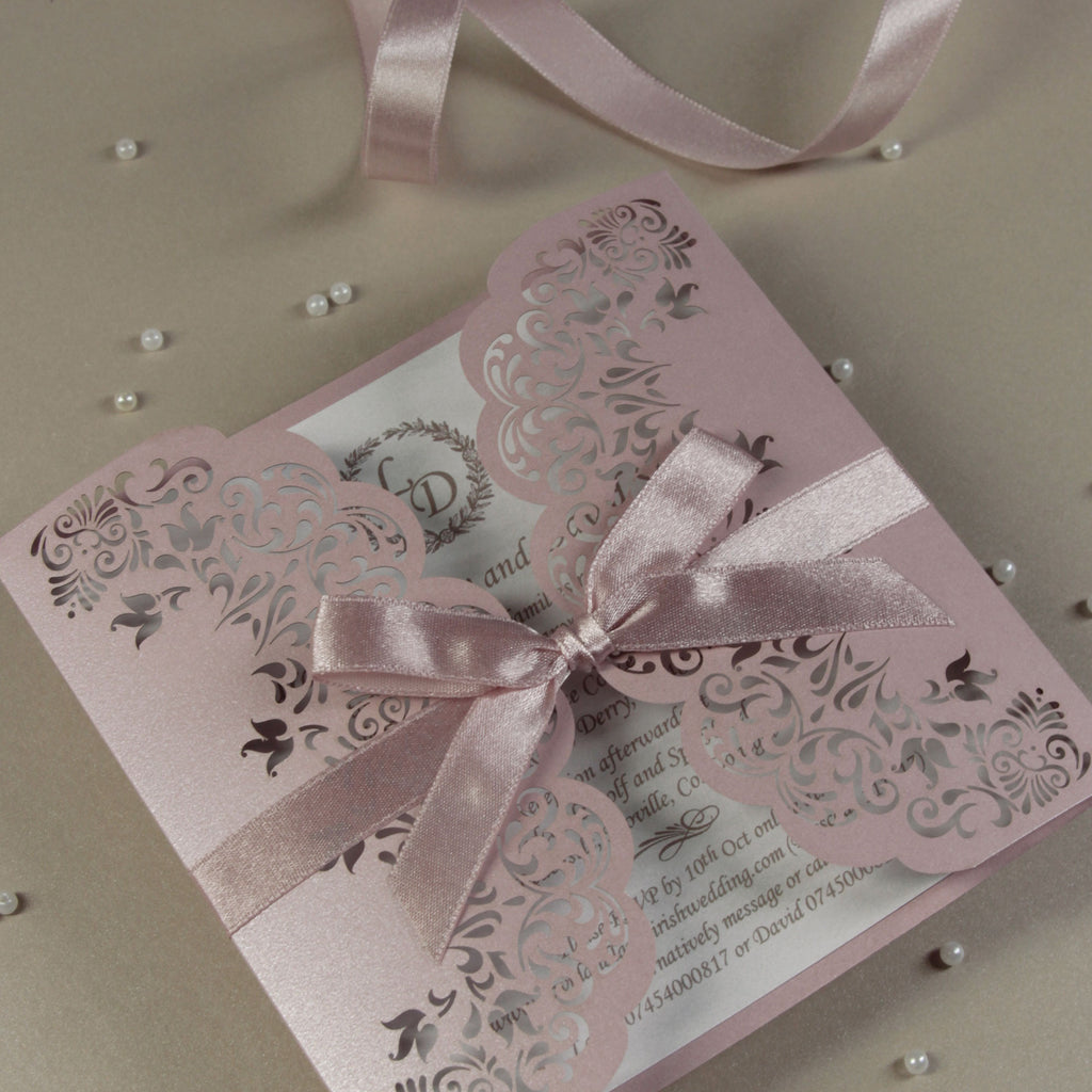 Misty Rose Gatefold Wedding Invitation Personalised Handmade Light Pink Metallic Cover Satin Ribbon