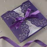 Purple Gatefold Wedding Invitation Personalised Handmade Metallic Cover Satin Ribbon