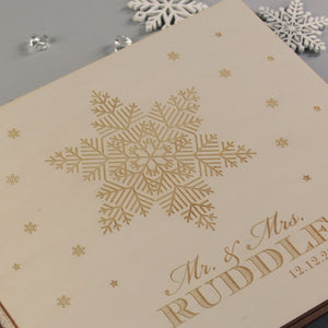 Beautiful Wedding Book Snowflake Winter Personalised Guest Book