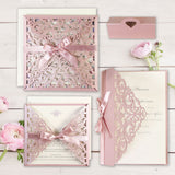 Beautiful Pink Laser Cut Square Wedding Day Invitation Pocket