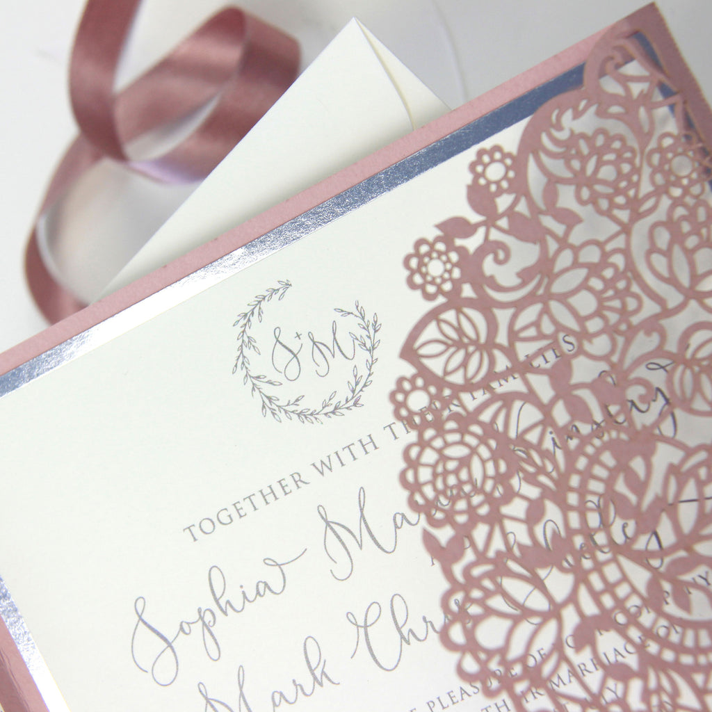 Vintage Rose Laser Cut Wedding Day Evening Invitation Silver Foil Border