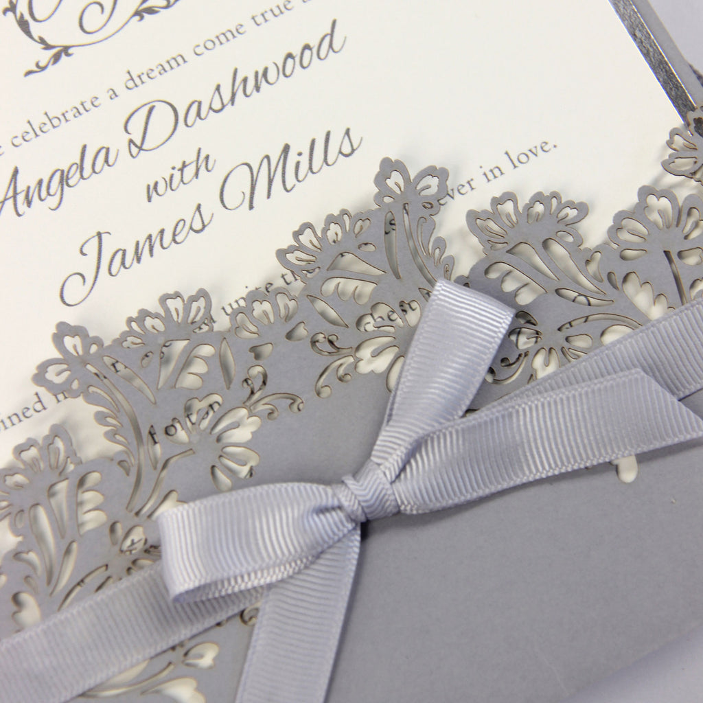 Beautiful Grey Laser Cut Large Pocket Silver Foil Border