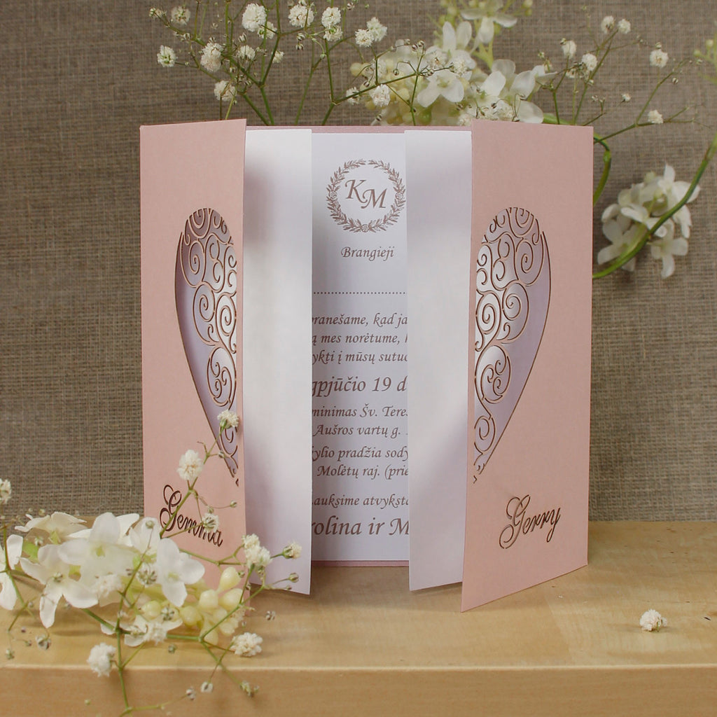 Large Intricate Laser Cut Heart Wedding Invitations Gatefold Handmade