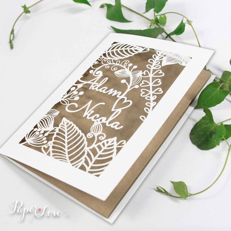 High Quality Rustic Shabby Chic Laser Cut Flowers Personalised Wedding Invitations