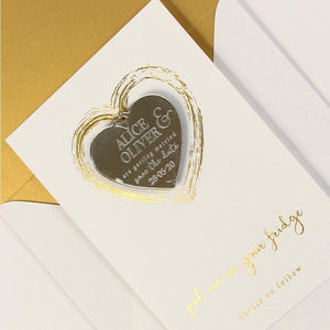 Save the Date Magnet Gold Foil Heart Pressed Design Mirror Heart Engraved