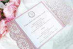 Elegant Misty Rose Wedding Invitations - Laser cut Floral Invitation with Cream Insert