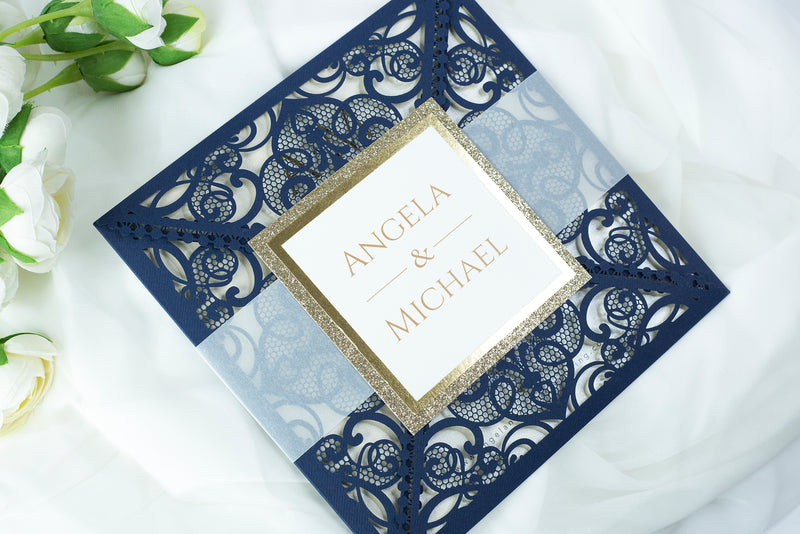 Navy Blue Elegant Wedding Invitations with Cream Insert and Gold Glitter