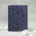 Navy Blue Pocketfold Elegant Lace Floral Wedding Invitations