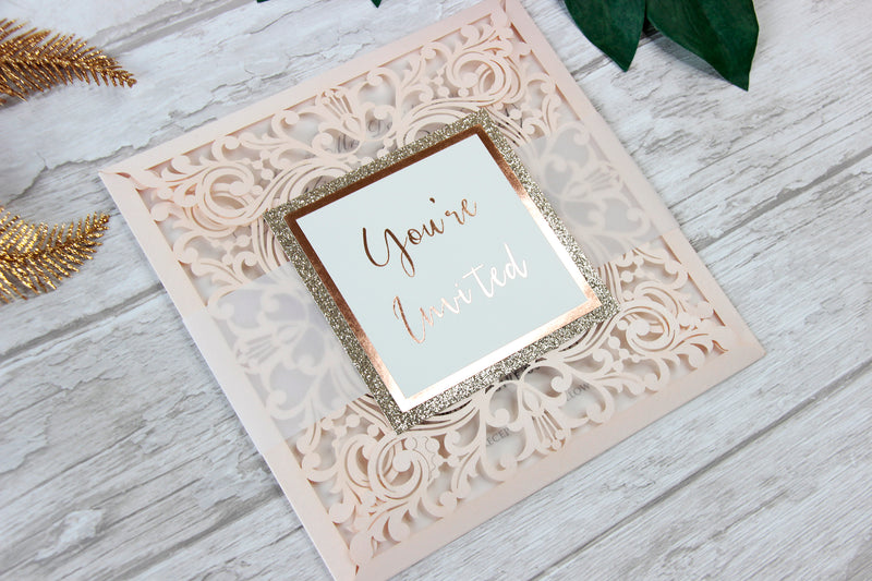Peach Elegant Lace Square Wedding Invitations with Rose Gold foil and Gold Glitter