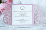 DIY Elegant Pink Wedding Invitations - Laser cut Floral Invitation with Cream Insert