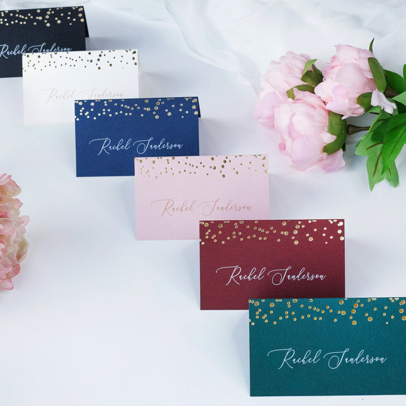 Elegant Foil Pressed Personalised Wedding Place Cards