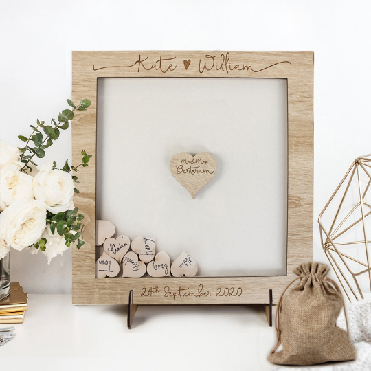 Personalised Wooden Wedding Guest Book Drop Box + Wooden Box + Wooden Pen Set